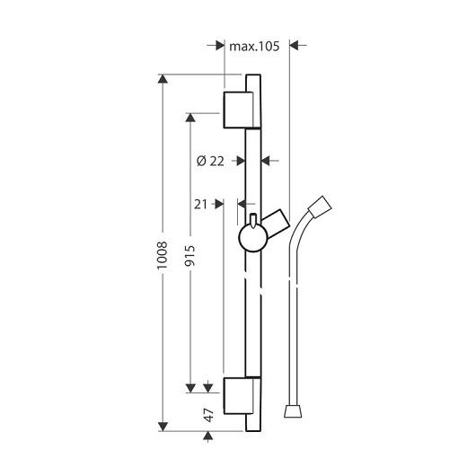 Штанга для душа Hansgrohe Unica S Puro 28631000 (900 мм)