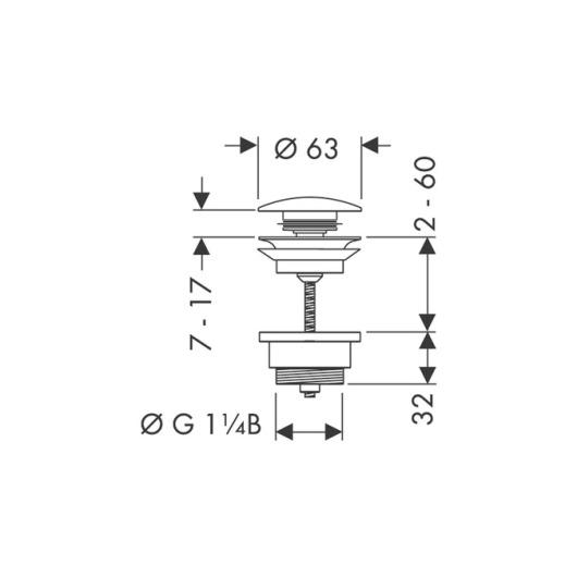 Сливной набор для раковины Hansgrohe Push-Open 50100820 (шлифованный никель)