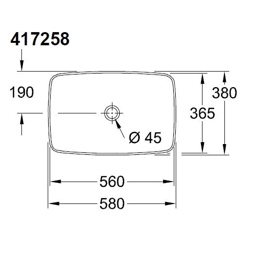 Раковина накладная Villeroy & Boch Artis 4172 58 R1 (417258R1) CeramicPlus (580х380 мм)