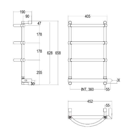 Полотенцесушитель электрический Margaroli Luna 532 BOX (658х452 мм) хром