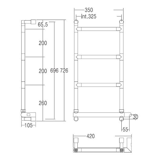 Полотенцесушитель электрический Margaroli Sereno 582 BOX (726х420 мм) хром