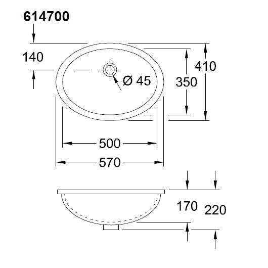 Раковина встраиваемая снизу Villeroy & Boch Evana 6147 00 01 (61470001) (500х350 мм)