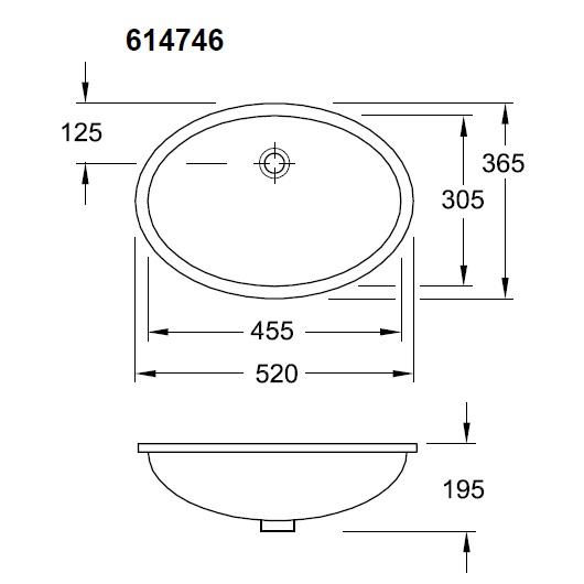 Раковина встраиваемая снизу Villeroy & Boch Evana 6147 46 01 (61474601) (455х305 мм)