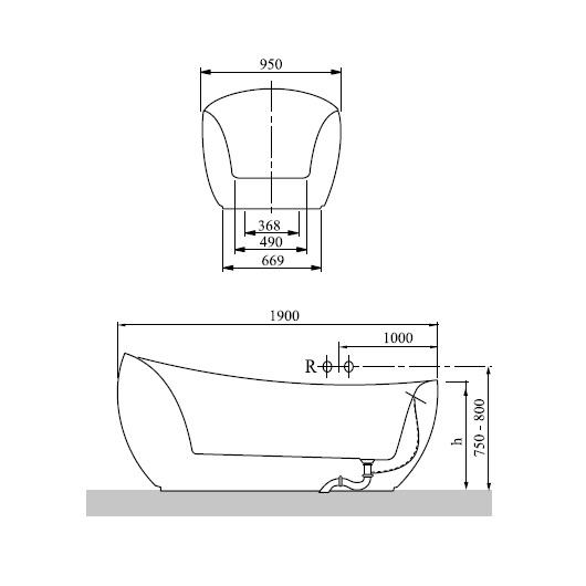Ванна квариловая Villeroy & Boch Aveo New Generation 190х95 UBQ194AVE9W1V-01 (белый Alpin)