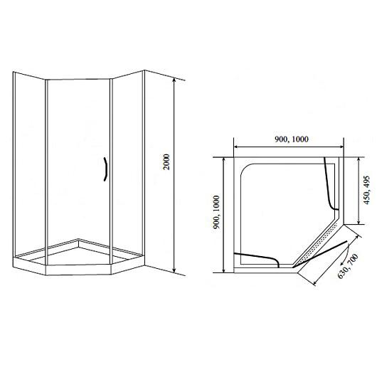 Душевой угол с поддоном Timo BY-839-100 (1000х1000 мм) стекло матовое