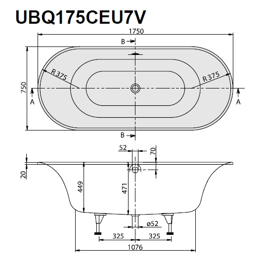 Ванна квариловая Villeroy & Boch Cetus 175х75 UBQ175CEU7V-01 (белый Alpin)