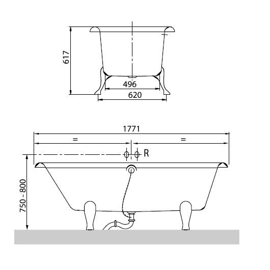Ванна квариловая Villeroy & Boch Hommage 177х77 UBQ180HOM700V-01 (белый Alpin)
