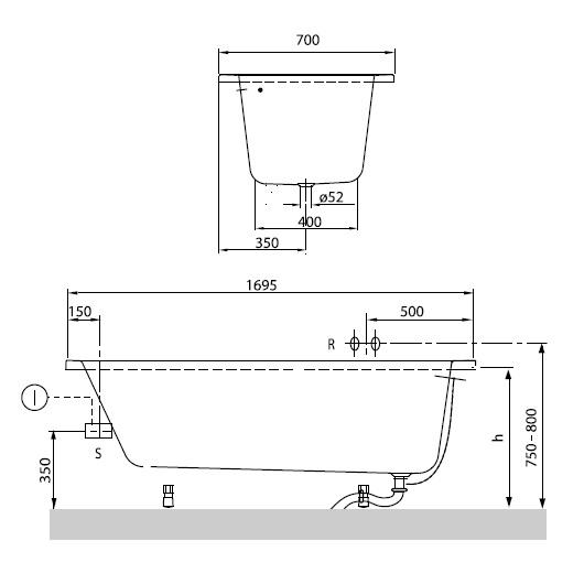 Ванна акриловая Villeroy & Boch O.Novo 170х70 UBA177CAS2V-01 (белый Alpin)