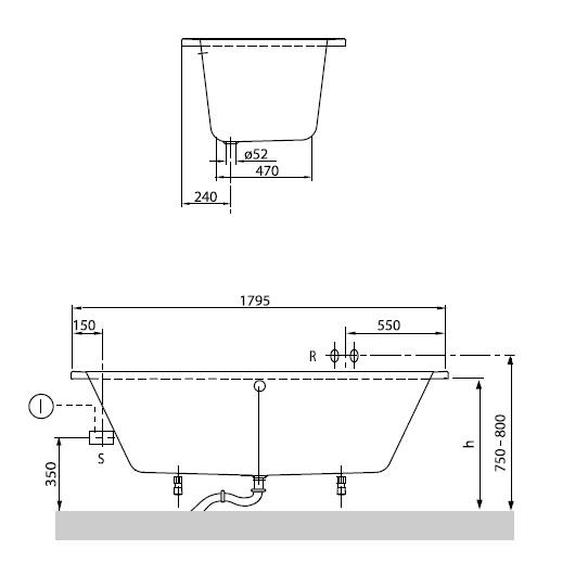 Ванна акриловая Villeroy & Boch O.Novo 180х80 UBA180CAS2V-01 (белый Alpin)