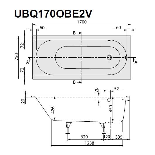 Ванна квариловая Villeroy & Boch Oberon 170х75 UBQ170OBE2V-01 (белый Alpin)