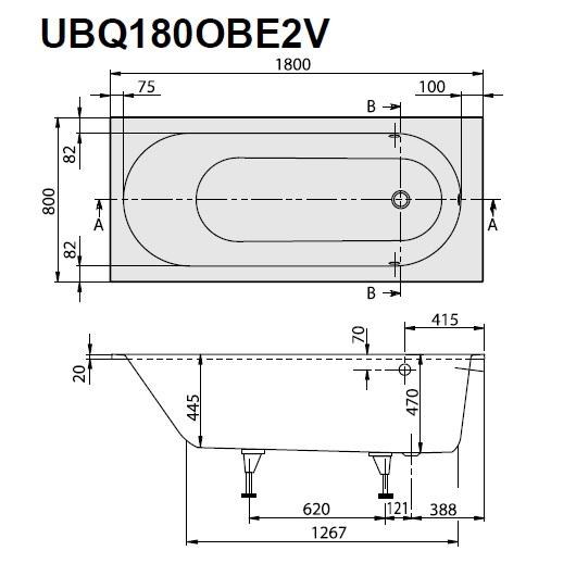 Ванна квариловая Villeroy & Boch Oberon 180х80 UBQ180OBE2V-01 (белый Alpin)