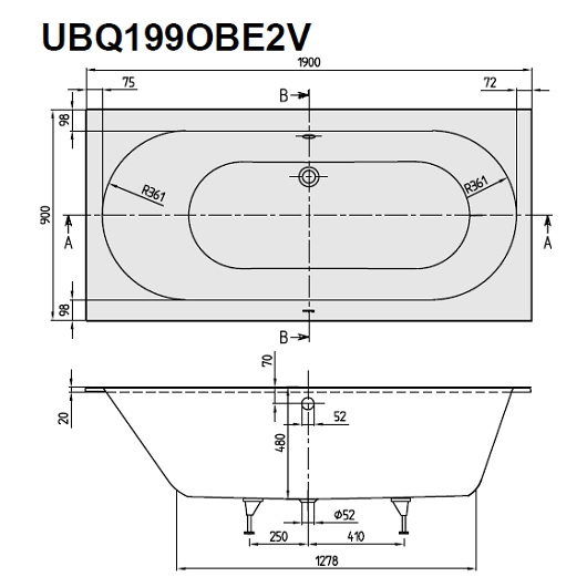Ванна квариловая Villeroy & Boch Oberon 190х90 UBQ199OBE2V-96 (Star White)