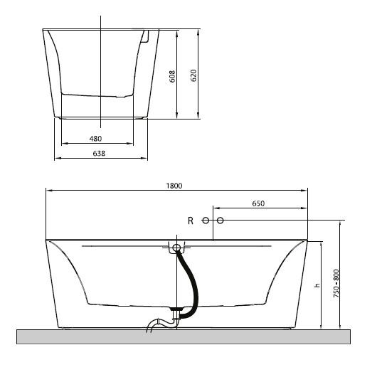 Ванна квариловая Villeroy & Boch Squaro Edge 12 180х80 UBQ180SQE7PDV-01 (белый Alpin)
