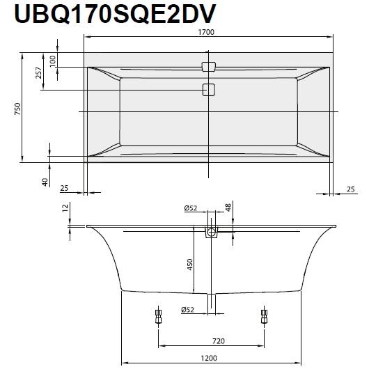 Ванна квариловая Villeroy & Boch Squaro Edge 12 170х75 UBQ170SQE2DV-01 (White Alpin)