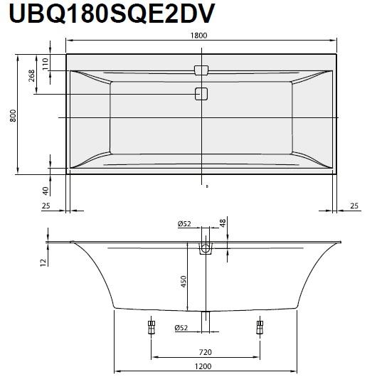 Ванна квариловая Villeroy & Boch Squaro Edge 12 180х80 UBQ180SQE2DV-01 (Alpin)