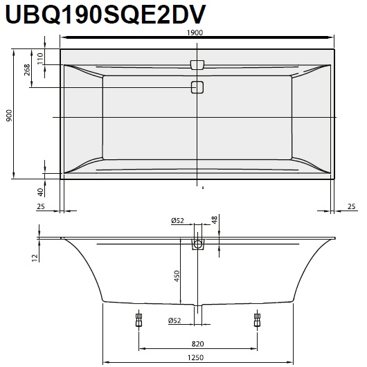 Ванна квариловая Villeroy & Boch Squaro Edge 12 190х90 UBQ190SQE2DV-01 (белый Alpin)