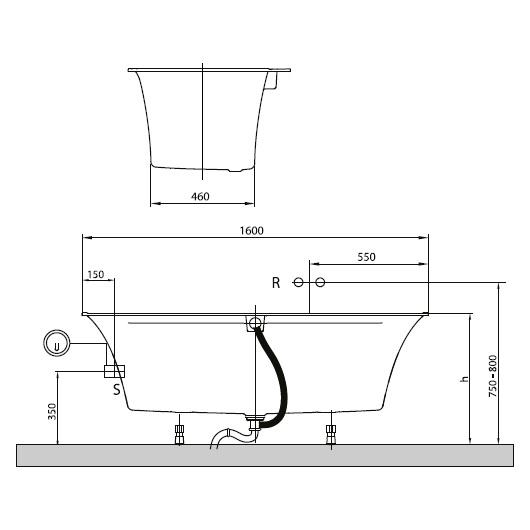 Ванна квариловая Villeroy & Boch Squaro Edge 12 160х75 UBQ160SQE2DV-01 (белый Alpin)