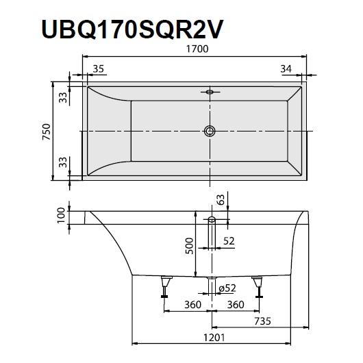 Ванна квариловая Villeroy & Boch Squaro UBQ170SQR2V-01 170х75