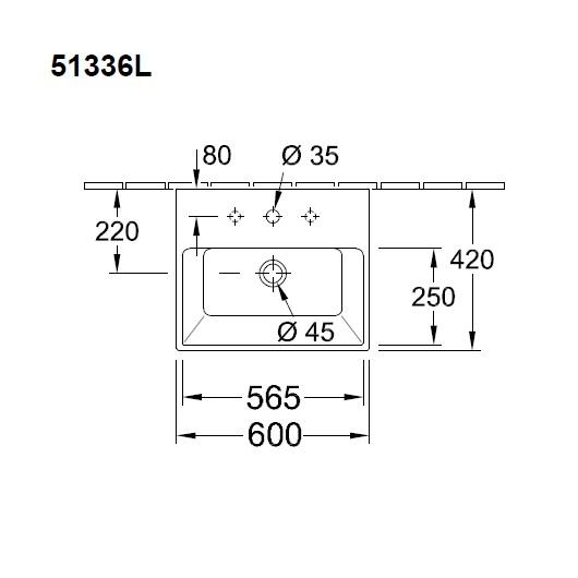 Раковина Villeroy & Boch Memento 5133 6L R1 (51336LR1) CeramicPlus (600х420 мм)
