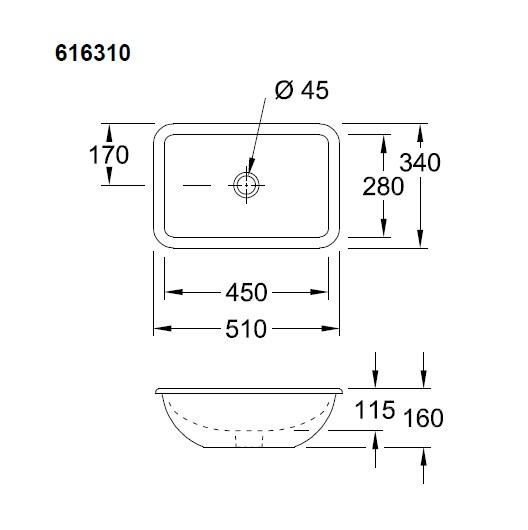 Раковина встраиваемая снизу Villeroy & Boch Loop & Friends 61631001 (6163 10 01) (450х280 мм)