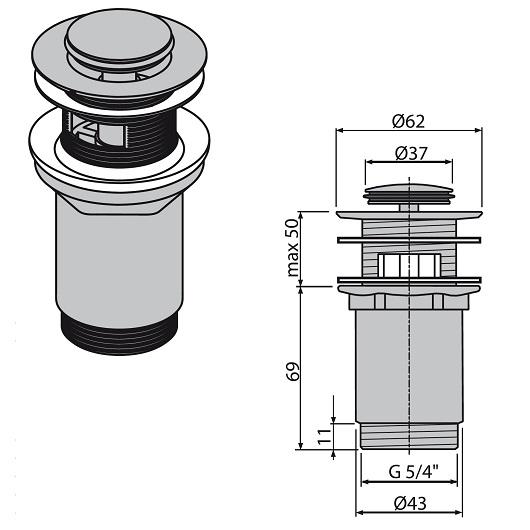 Донный клапан AlcaPlast A391 (хром глянцевый) для раковин с переливом