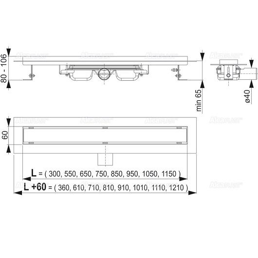 Водоотводящий желоб AlcaPlast APZ106-750 Professional Low (750 мм, для цельной решетки)