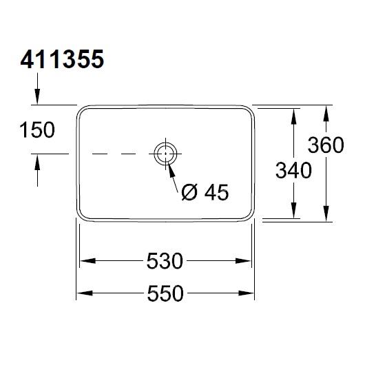 Раковина накладная Villeroy & Boch Venticello 4113 55 01 (41135501) (550х360 мм)