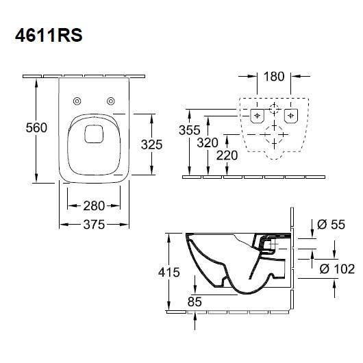 Унитаз подвесной Villeroy & Boch Venticello 4611RSR1 (4611 RS R1) CeramicPlus, без смывного обода