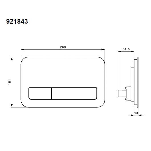 Клавиша смыва Villeroy & Boch ViConnect 9218 43 RB (921843RB) с подсветкой (стекло, черный глянцевый)
