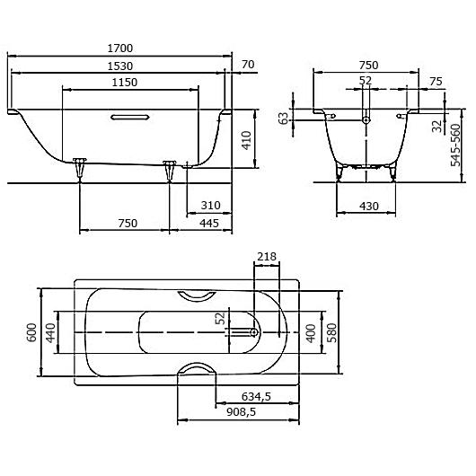 Ванна Kaldewei Saniform Plus 373-1 (1700х750 мм) 112600010001