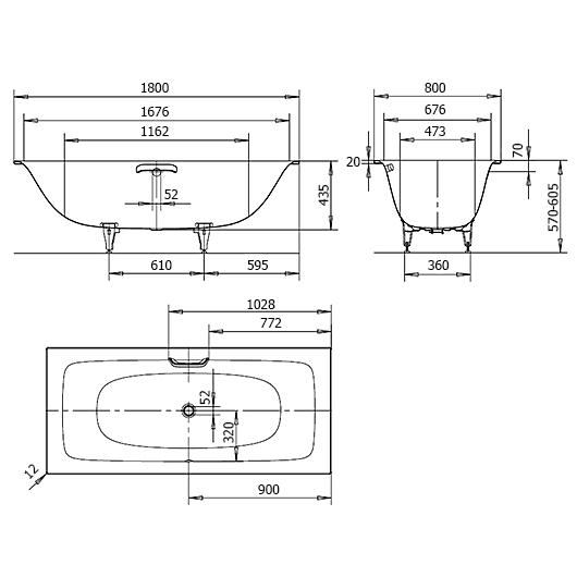 Ванна Kaldewei Silenio 676 (1800х800 мм) 267600013001 Easy-Clean (антигрязевое покрытие)