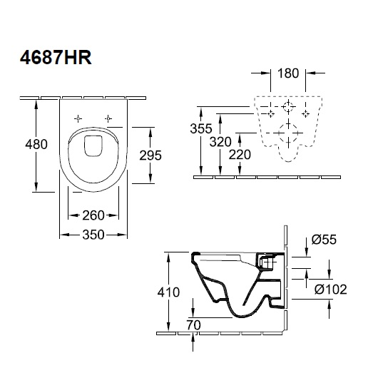 Унитаз подвесной Villeroy & Boch Architectura 4687 HR 01 (4687HR01) без смывного обода