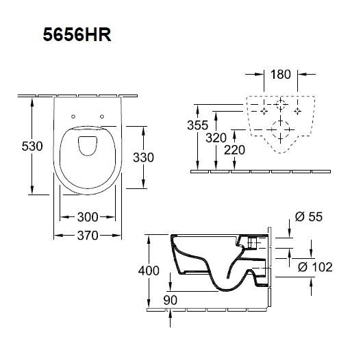 Унитаз подвесной Villeroy & Boch Avento 5656 HR 01 (5656HR01) без смывного обода