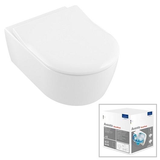 Унитаз подвесной Villeroy & Boch Avento 5656RSR1 (5656 RS R1) CeramicPlus, без смывного обода