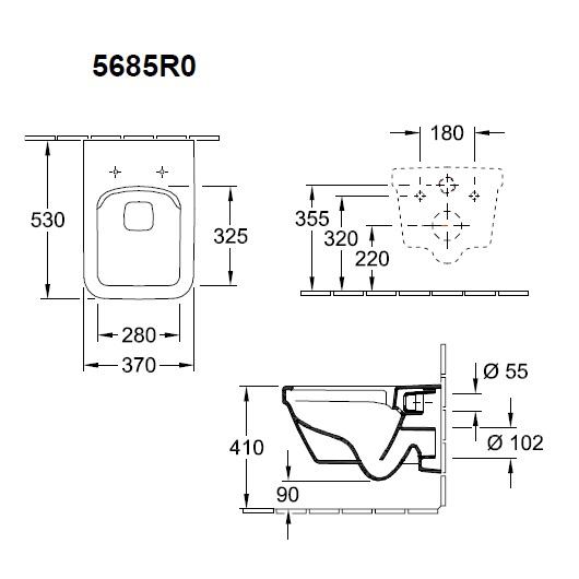 Чаша подвесного унитаза Villeroy & Boch Architectura 5685 R0 01 (5685R001) без смывного обода