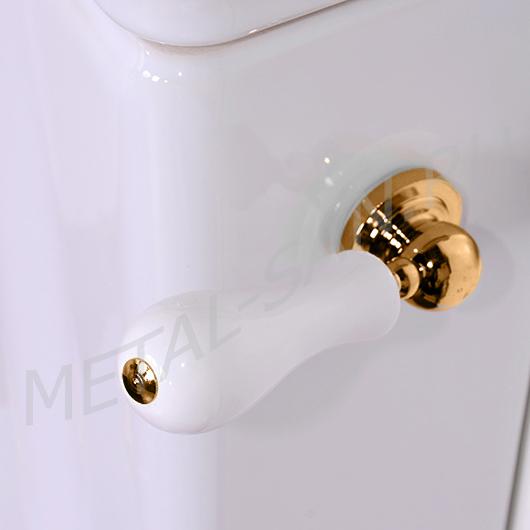 Механизм смыва для бачка Kerasan 756991 с ручкой (золото) подвод воды снизу