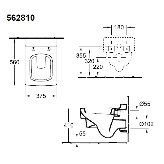 Чаша подвесного унитаза Villeroy & Boch Memento 5628 10 R1 (562810R1) CeramicPlus