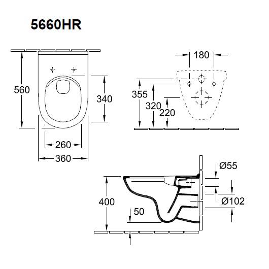 Унитаз подвесной Villeroy & Boch O.Novo 5660 HR 01 (5660HR01) без смывного обода