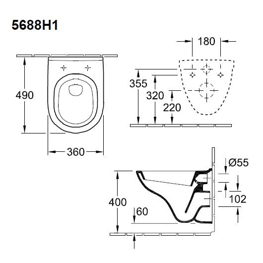 Унитаз подвесной Villeroy & Boch O.Novo 5688 H1 01 (5688H101) Compact