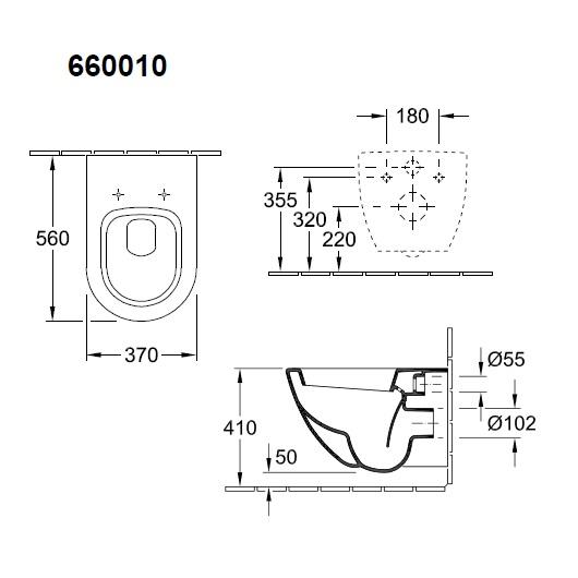 Чаша подвесного унитаза Villeroy & Boch Subway 6600 10 01 (66001001)
