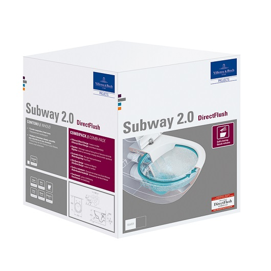 Унитаз подвесной Villeroy & Boch Subway 2.0 5614 R2 R1 (5614R2R1) CeramicPlus, без смывного обода