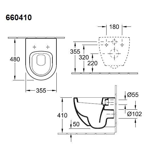 Чаша подвесного унитаза Villeroy & Boch Subway 6604 10 01 (66041001) укороченная