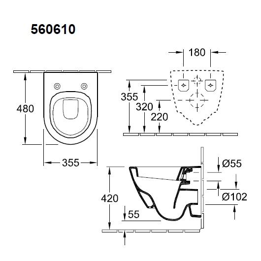 Чаша подвесного унитаза Villeroy & Boch Subway 2.0 5606 10 01 (56061001) укороченная