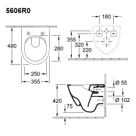 Чаша подвесного унитаза Villeroy & Boch Subway 2.0 5606 R0 R1 (5606R0R1) CeramicPlus без смывного обода