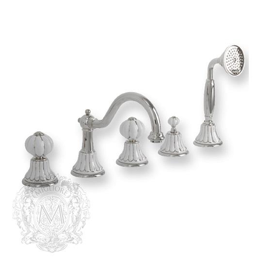 Смеситель для ванны Migliore Olivia ML.OLV-5880.BP.CR (Белый/декор платина/хром)