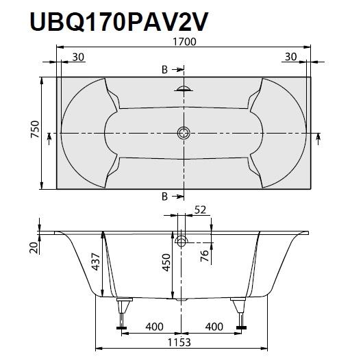 Ванна квариловая Villeroy & Boch Pavia 170х75 UBQ170PAV2V-01 (белый Alpin)