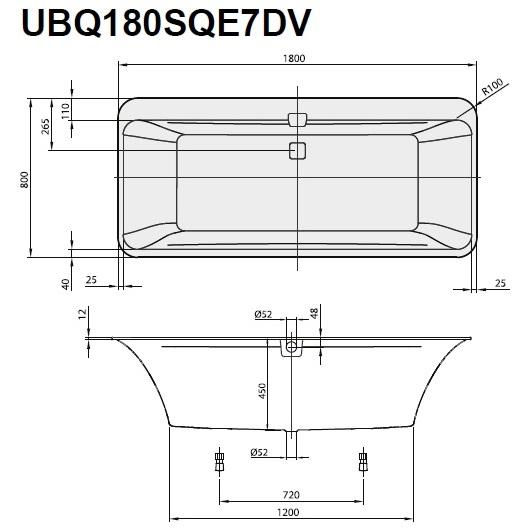 Ванна квариловая Villeroy & Boch Squaro Edge 12 180х80 UBQ180SQE7DV-01 (белый Alpin)