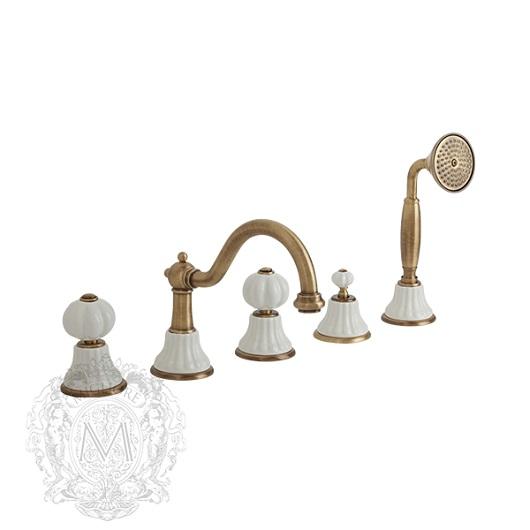 Смеситель для ванны Migliore Olivia ML.OLV-5880.BI.BR (белый/бронза)