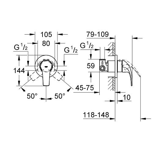 Гигиенический набор Grohe BauCurve 124899