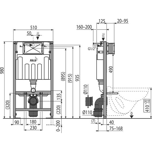 Инсталляция для подвесного унитаза AlcaPlast Sadromodul AM101/1000 (высота 1 м)